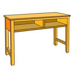 How to Draw an Old Double Desk Easy Step by Step for Kids