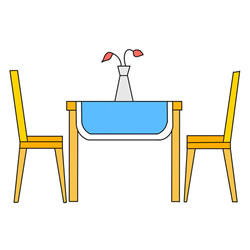 How to Draw a Dining Table and Chairs Step by Step for Kids