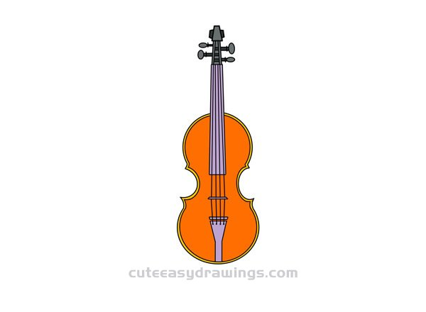 How To Draw A Violin Easy Step By Step For Kids Cute Easy Drawings