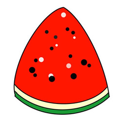 How to Draw a Piece of Watermelon Tutorial Easy for Kids