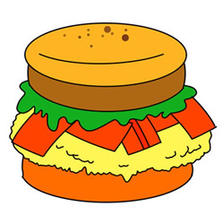 Hamburger Drawing Easy Step by Step for Kids