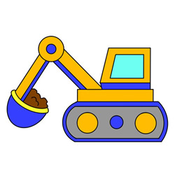 Excavator Drawing Step by Step for Kids