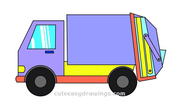 How to Draw a Garbage Truck Easy Step by Step for Kids