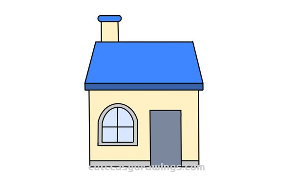 How To Draw A House With Chimney Easy Step By Step For Kids Cute Easy Drawings