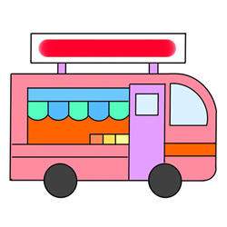 How to Draw an Ice Cream Cart Easy Step by Step for Kids