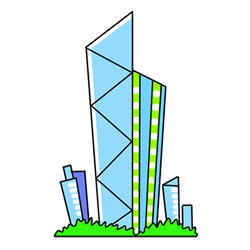 How to Draw a Cartoon Skyscraper Tutorial Easy for Kids