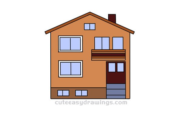 How to Draw a Cute Villa Easy Step by Step for Kids