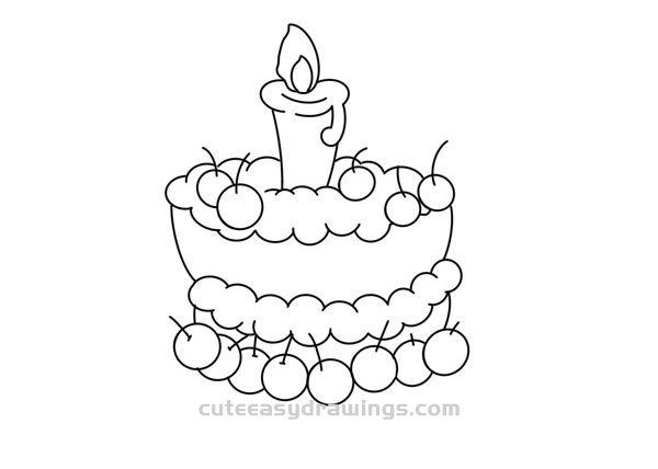 How to Draw a Birthday Cake with Lit Candles Easy for Kids
