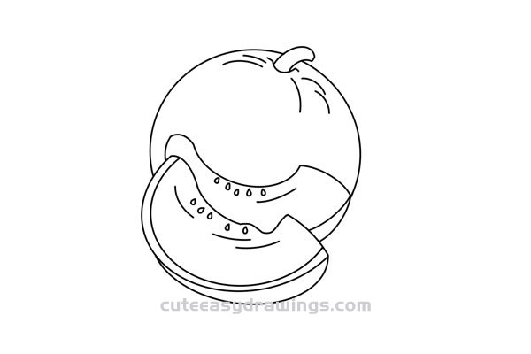 Cantaloupe Drawing Tutorial Easy for Kids