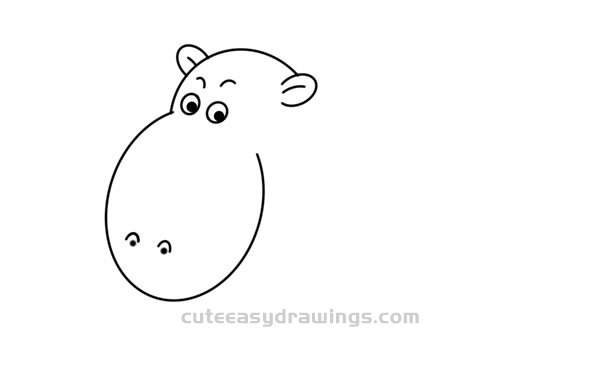 Cute Hippo Drawing Tutorial Step by Step for Kids
