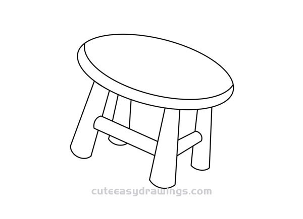 How to Draw a Small Stool Easy Step by Step for Kids