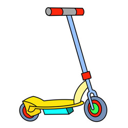 Electric Scooter Drawing Step by Step for Kids