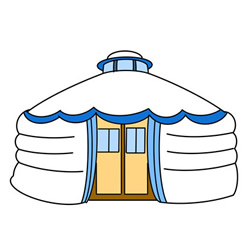Yurt Drawing Tutorial Step by Step for Kids