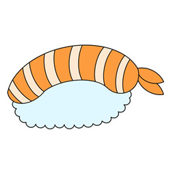 How to Draw Shrimp Sushi Step by Step for Kids