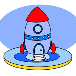 Cartoon Rocket Drawing Step by Step for Kids