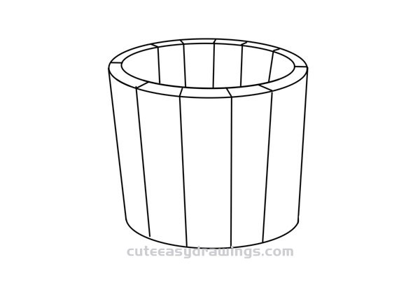 How to Draw a Wooden Bucket Easy Step by Step for Kids