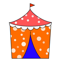 How to Draw a Cute Circus Tent Easy Step by Step for Kids