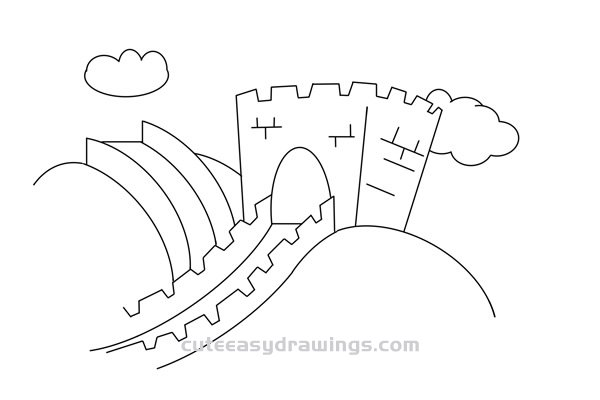 Great Wall of China Drawing Easy for Kids