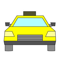 How to Draw the Front of a Taxi Easy Step by Step for Kids