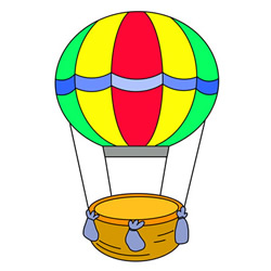 Hot Air Balloon Drawing Tutorial Step by Step for Kids