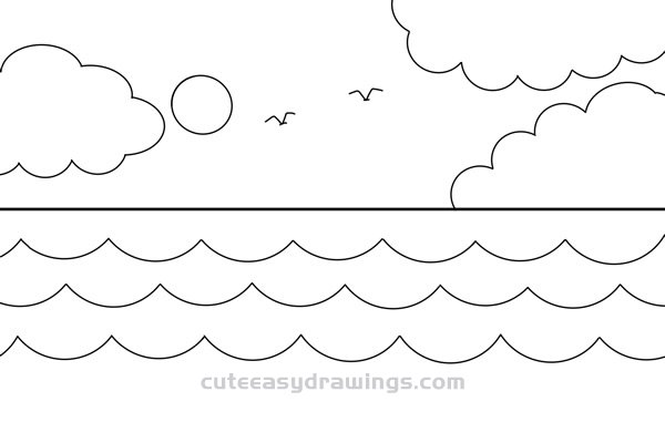 How to Draw Sea Scenes Easy Step by Step for Kids