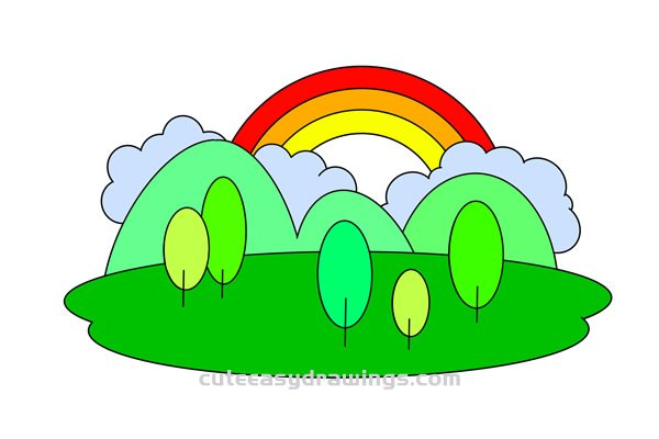 How to Draw Rainbow Scene Easy Step by Step for Kids