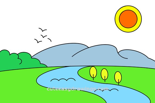 How to Draw River Scenery Easy Step by Step for Kids
