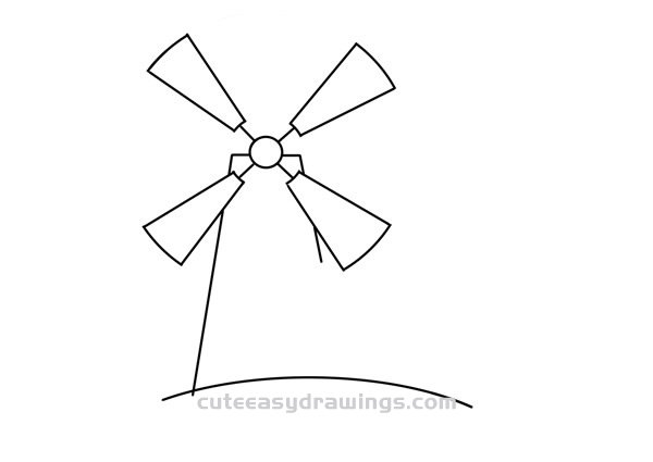 Cartoon Windmill Drawing Easy Step by Step for Kids