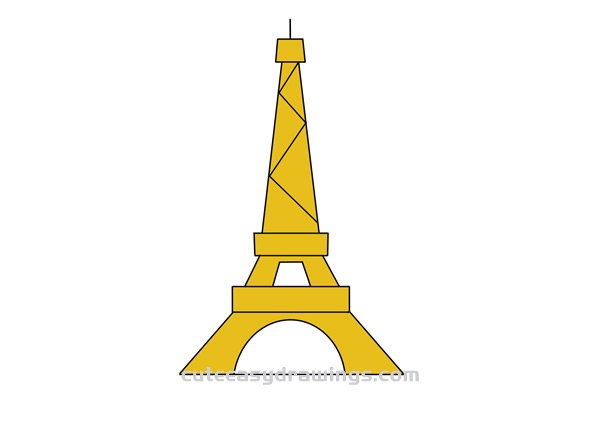 Cartoon Eiffel Tower Drawing Easy Step by Step for Kids