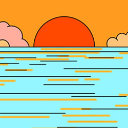 How to Draw Sea Sunset Easy Step by Step for Kids