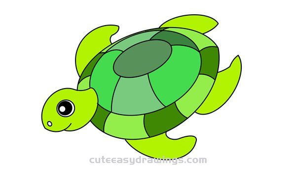 Turtle Swimming Deep Into The Sea Drawing Tutorial For Kids Cute