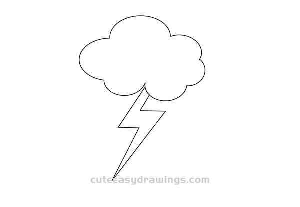 How to Draw Thunder Clouds Easy Step by Step for Kids