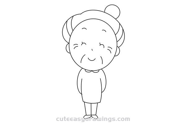 How to Draw a Cartoon Grandma Easy Step by Step for Kids
