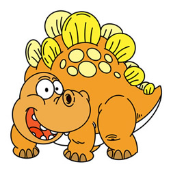 Funny Cartoon Stegosaurus Drawing Easy Step by Step for Kids
