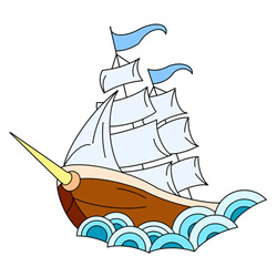 How to Draw an Ancient Sailing Ship Step by Step for Kids