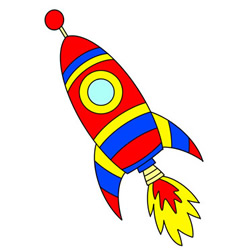 Cute Rocket Flying to Space Drawing Tutorial Easy for Kids