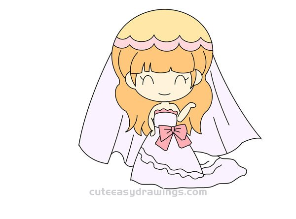 How To Draw A Cute Cartoon Bride Easy Step By Step For Kids Cute