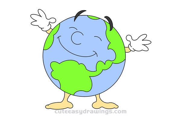 How to Draw a Cartoon Earth Easy Step by Step for Kids