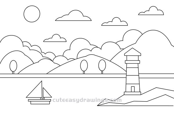 How to Draw a River Lighthouse Scene Easy Step by Step for Kids