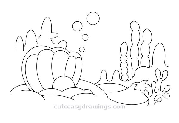 How to Draw Underwater World Scenery Easy Step by Step for Kids