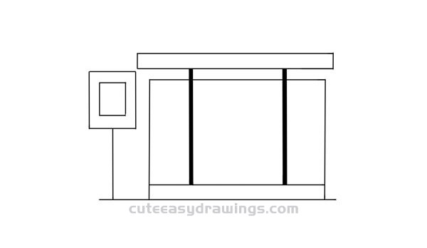 How to Draw a Bus Stop Easy Step by Step for Kids