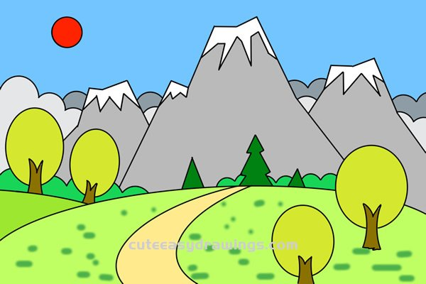 How to Draw a Forest Path Scene Easy Step by Step for Kids