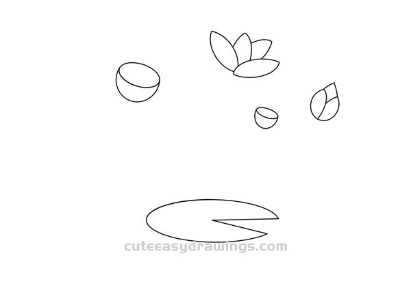 How to Draw Lotus Pond Scenery Easy Step by Step for Kids