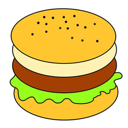 Simple Hamburger Drawing Step by Step for Kids