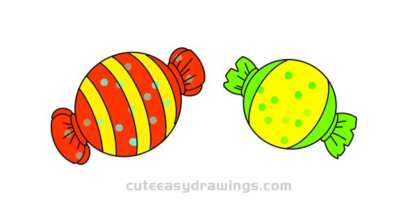 Simple Candies Drawing Tutorial Step by Step for Kids