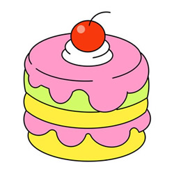 Small Cake Drawing Easy Step by Step for Kids