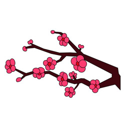 How to Draw Peach Blossoms on Branches Easy for Kids