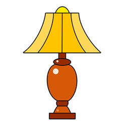 Simple Table Lamp Drawing Step by Step for Kids