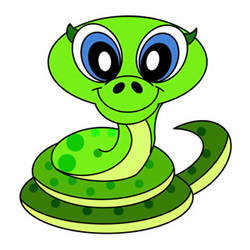 Cute Cartoon Snake Drawing Step by Step for Kids