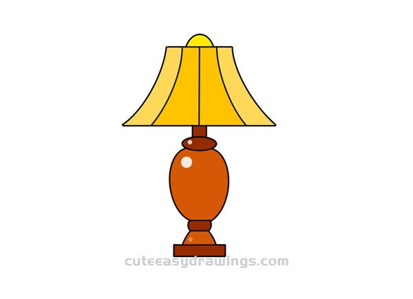Simple Table Lamp Drawing Step by Step for Kids - Cute Easy Drawings